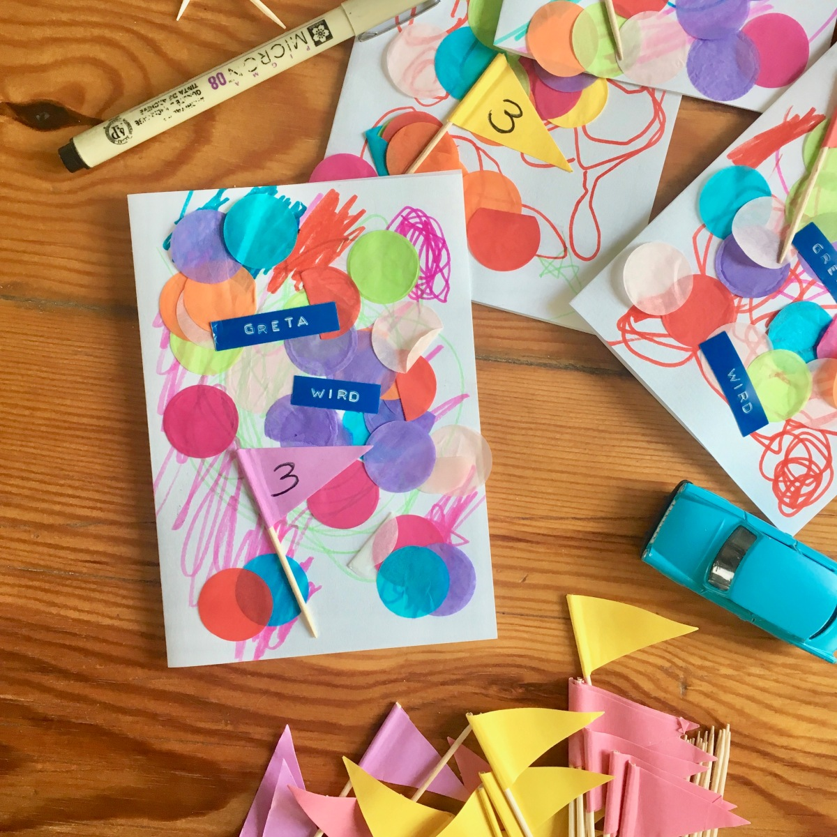 Der erste Kindergeburtstag – Einladungen basteln mit Greta